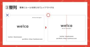 デザインの4大原則のひとつ「整列」について説明した画像の2つ目